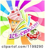 Clipart Of A Waffle Ice Cream Cone With Frozen Yogurt Cherries Text And Colorful Swirls Royalty Free Vector Illustration by merlinul
