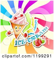 Clipart Of A Waffle Ice Cream Cone With Frozen Yogurt Strawberries Text And Colorful Swirls Royalty Free Vector Illustration by merlinul