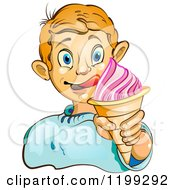 Cartoon Of A Blond Boy Licking His Lips And Holding An Ice Cream Cone Royalty Free Vector Clipart by merlinul