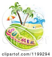 Clipart Of Summer Text Over A Tropical Beach With A Ball And Umbrella Royalty Free Vector Illustration by merlinul