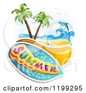 Clipart Of Summer Text Over A Tropical Beach With A Ball And Leaping Dolphin Royalty Free Vector Illustration by merlinul