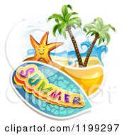 Clipart Of Summer Text Over A Tropical Beach With A Ball And Starfish Royalty Free Vector Illustration by merlinul