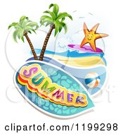Clipart Of Summer Text Over A Tropical Beach With A Ball And Surfing Starfish Royalty Free Vector Illustration by merlinul