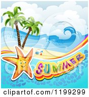 Clipart Of Summer Text With A Starfish In Water Over A Tropical Beach Royalty Free Vector Illustration