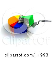 Spatula Scooping A Money Filled Slice Of A Pie Chart Clipart Illustration by Leo Blanchette