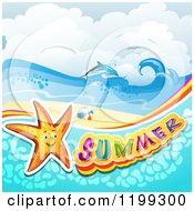 Clipart Of Summer Text With A Starfish In Water Over A Tropical Beach With A Dolphin Royalty Free Vector Illustration
