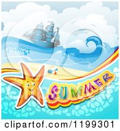 Clipart Of Summer Text With A Starfish In Water Over A Tropical Beach With A Ship Royalty Free Vector Illustration