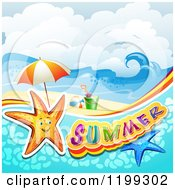 Clipart Of Summer Text With Starfish In Water Over A Tropical Beach With Beach Toys Royalty Free Vector Illustration by merlinul