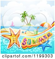 Clipart Of Summer Text With Starfish In Water Over A Tropical Beach With Beach Toys And An Island Royalty Free Vector Illustration by merlinul