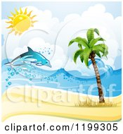 Clipart Of A White Sand Tropical Beach With Dolphins And A Palm Tree Royalty Free Vector Illustration by merlinul