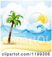 Clipart Of A White Sand Tropical Beach With A Palm Tree And Sun Over The Surf Royalty Free Vector Illustration