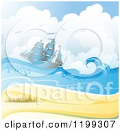 Clipart Of A White Sand Tropical Beach With Seagulls And A Ship Royalty Free Vector Illustration by merlinul