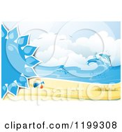 Clipart Of A White Sand Tropical Beach With A Blue Sun Beach Ball And Leaping Dolphin Royalty Free Vector Illustration by merlinul