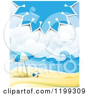 Clipart Of A White Sand Tropical Beach With A Blue Sun Over An Umbrella And Ball Royalty Free Vector Illustration