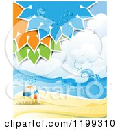 Clipart Of A White Sand Tropical Beach With Colorful Suns Over A Ball Royalty Free Vector Illustration