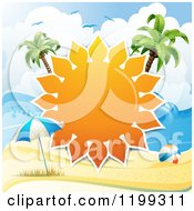 Clipart Of A White Sand Tropical Beach With A Big Sun Frame Between Palm Trees Over An Umbrella And Ball Royalty Free Vector Illustration