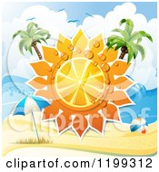 Clipart Of A White Sand Tropical Beach With A Big Orange Citrus Sun With Dew And Palm Trees Over An Umbrella And Ball Royalty Free Vector Illustration by merlinul