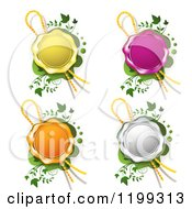 Yellow Purple Orange And White Wax Seals With Ribbons Over Green With Vines