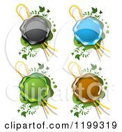 Clipart Of Black Blue Green And Brown Wax Seals With Ribbons Over Green With Vines Royalty Free Vector Illustration