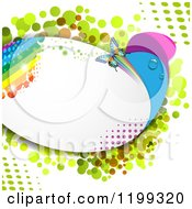 Clipart Of A Butterfly Background With Halftone And A Rainbow In A Frame Royalty Free Vector Illustration