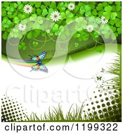 Clipart Of A Butterfly Background With Halftone And Clovers With Copyspace Royalty Free Vector Illustration