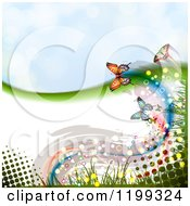 Clipart Of A Butterfly Background With Halftone Copyspace And Sky Royalty Free Vector Illustration by merlinul