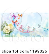 Clipart Of A Background Of Butterflies With Trails Over Blue With Roses Royalty Free Vector Illustration
