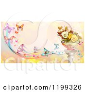 Clipart Of A Background Of Butterflies With Trails Over Pink With Roses On A Stand Royalty Free Vector Illustration