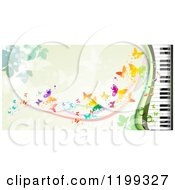 Clipart Of A Background Of Butterflies Over Green With A Piano Keyboard Royalty Free Vector Illustration by merlinul