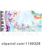 Clipart Of A Background Of Butterflies Over Blue With A Piano Keyboard Royalty Free Vector Illustration by merlinul