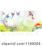 Clipart Of A Background Of Butterflies With Trails Over Green Royalty Free Vector Illustration by merlinul