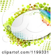 Oval Frame With A Rainbow And Halftone