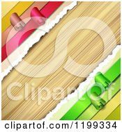 Clipart Of A Background Of Wood And Diagonal Torn Paper And Curling Ribbons Royalty Free Vector Illustration