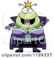 Cartoon Of A Smart Martian Queen With An Idea Royalty Free Vector Clipart