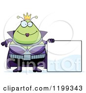 Cartoon Of A Happy Martian Queen With A Sign Royalty Free Vector Clipart