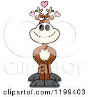 Cartoon Of A Loving Deer With Hearts Royalty Free Vector Clipart by Cory Thoman