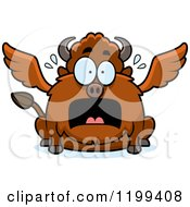 Cartoon Of A Scared Chubby Winged Buffalo Royalty Free Vector Clipart by Cory Thoman