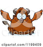 Cartoon Of A Happy Smiling Chubby Winged Buffalo Royalty Free Vector Clipart by Cory Thoman