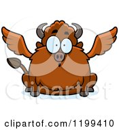 Cartoon Of A Surprised Chubby Winged Buffalo Royalty Free Vector Clipart by Cory Thoman