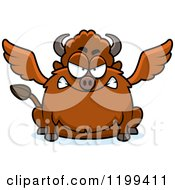 Cartoon Of A Mad Chubby Winged Buffalo Royalty Free Vector Clipart by Cory Thoman