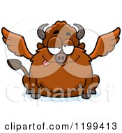 Cartoon Of A Drunk Chubby Winged Buffalo Royalty Free Vector Clipart