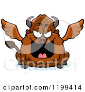 Cartoon Of A Mean Chubby Winged Buffalo Royalty Free Vector Clipart by Cory Thoman