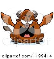 Cartoon Of A Mean Chubby Winged Buffalo Royalty Free Vector Clipart