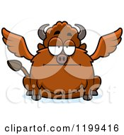Cartoon Of A Bored Chubby Winged Buffalo Royalty Free Vector Clipart by Cory Thoman