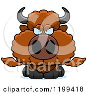 Cartoon Of A Sly Winged Buffalo Calf Royalty Free Vector Clipart by Cory Thoman