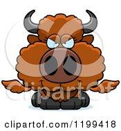 Cartoon Of A Sly Winged Buffalo Calf Royalty Free Vector Clipart