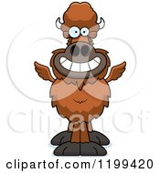 Cartoon Of A Grinning Winged Buffalo Royalty Free Vector Clipart by Cory Thoman