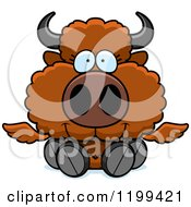 Cartoon Of A Cute Sitting Winged Buffalo Calf Royalty Free Vector Clipart