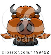 Cartoon Of A Depressed Winged Buffalo Calf Royalty Free Vector Clipart by Cory Thoman