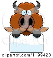Cartoon Of A Cute Winged Buffalo Calf Over A Sign Royalty Free Vector Clipart by Cory Thoman